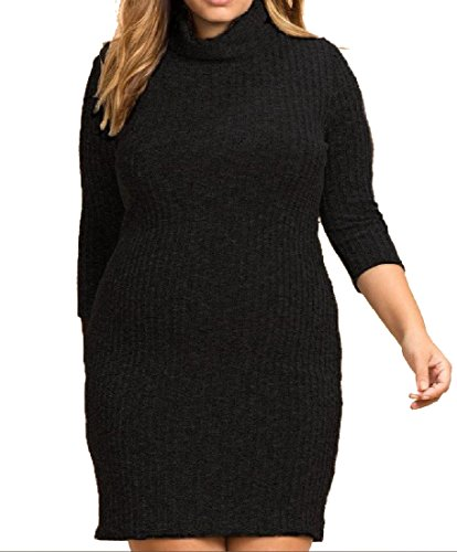 Women Oversized Piles Collar Party Bodycon Knitting Comfy Black Dress Solid fRnTTp