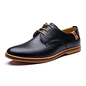 Seakee Men's Leisure Lace-up Flat Oxford Dress Shoes