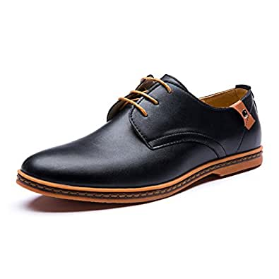 Seakee Men's Leisure Lace-up Flat Oxford Dress Shoes Black US 7