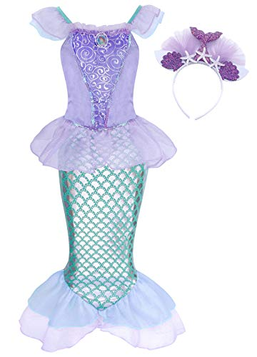 AmzBarley Girls Mermaid Outfit Princess Ariel Costume for Kids Child Birthday Fancy Party Dress up Sequins Clothes Halloween Role Play Cosplay with Headband Size 12(9-10Years)]()