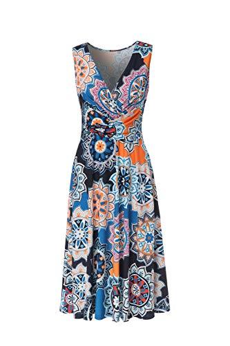 BEAUTIFUL-LIFE Women's Sleeveless Summer V-Neck Casual Wrap Flower Horn Long Dress (X-Large, Deep Blue)