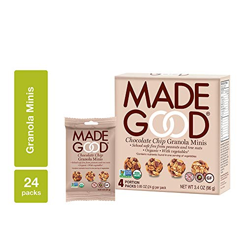 MadeGood Chocolate Chip Granola Minis, 6 Boxes (24 ct, .85 oz); Delicious and Wholesome Bite-Sized Treats Made with Organic and Allergy Friendly Ingredients Perfect for School Snacks and Lunches ()
