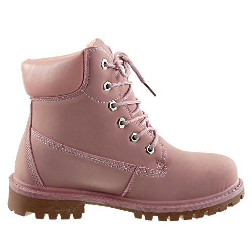 boots topstitching combat boots Women's Fashion Heel seams finish Block Pink CM Ankle Booty 3 Shoes biker Angkorly fIwRvxHv