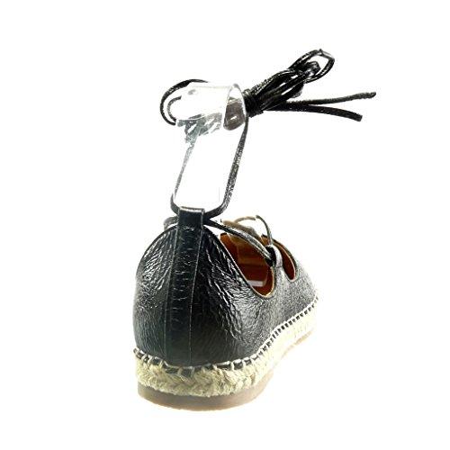Angkorly - Zapatillas de Moda Sandalias alpargatas mujer brillantes encaje cuerda Talón Tacón ancho 2 CM - Negro