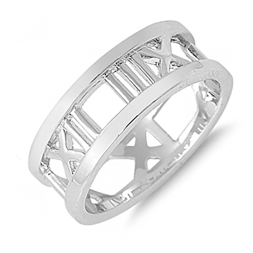 Plain Roman Numerals Sterling Silver Womens Ring Size - Amazon And Tiffany Co