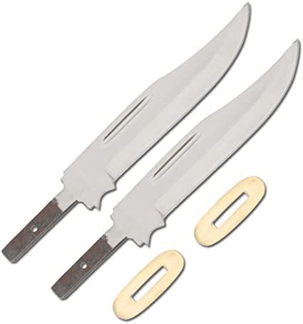 Whole Earth Supply Set of 2 Clip Point Knives Knife Blades Blanks Hunting Blank Blade Hunter Making Parts BL0S34