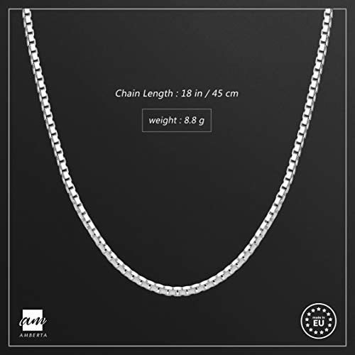 """Amberta 925 Sterling Silver 2 mm Venice Box Chain Necklace 18"""" 22"""" 26"""" in 2"""