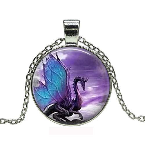 Bestgo Women Necklace,Vintage Retro Punk Dragon Cabochon Glass Bronze Necklace Pendant Popular Necklace Sweaters Chain Gift (A)]()
