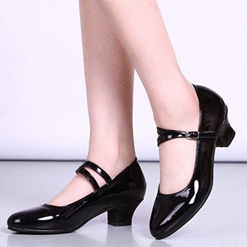 Nero Ballo Professional Tacco Da Latino Classiche Lihaer Femminile Scarpe Ladies Basso Moda Scarpe Uq7Bdwx