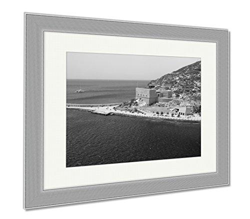 Ashley Framed Prints Embankment And Christmas Fort Cartagena Spain, Wall Art Home Decoration, Black/White, 30x35 (frame size), Silver Frame, AG6519130 by Ashley Framed Prints
