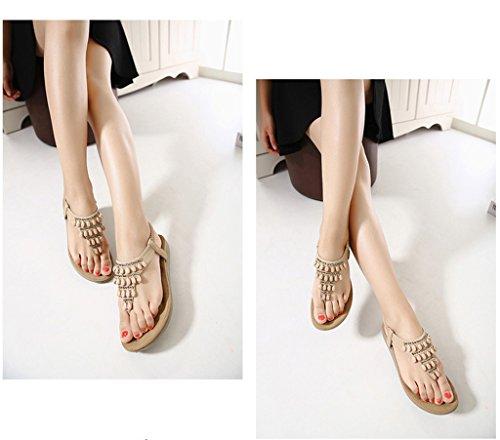 Minetom Mujer Verano Elegante T-Correa Diamante De Imitación Sandalias Estilo Bohemio Chanclas Peep Toe Plana Zapatos Zapatillas Albaricoque