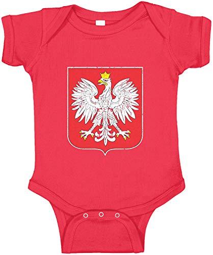 - Amdesco Poland Coat of Arms Polish Polska White Eagle Infant Bodysuit, Red 18 Month