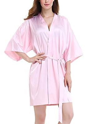 David Archy Women's Bridesmaid Satin Kimono Robe Silk Nightwear