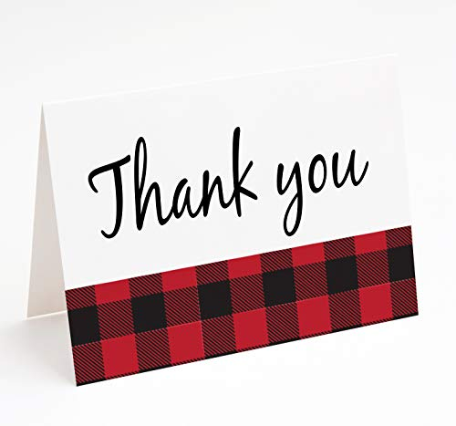 Lumberjack 1st Birthday or Baby Shower 10 Pack Thank You Cards Blank Inside with Envelopes A2 Folded 4x5.25 in Red Black Buffalo Plaid