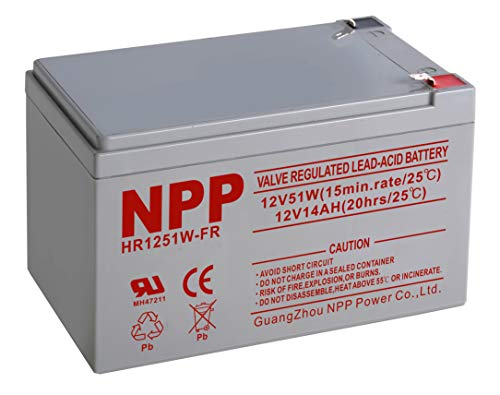 NPPower 12V-14Ah SLA Sealed Lead Acid Rechargeable Battery with F2 Style Terminals