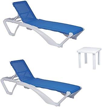 resol set de 2 tumbonas jardín exterior Acqua estructura blanca, textilene azul y 1 mesa auxiliar Andorra blanca