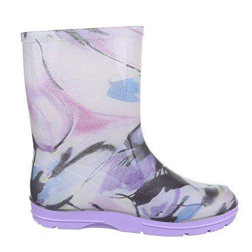 Ital-Design Kinder Schuhe, GST-K120, Stiefel Mädchen Jungen Gummi Regenstiefel Lila