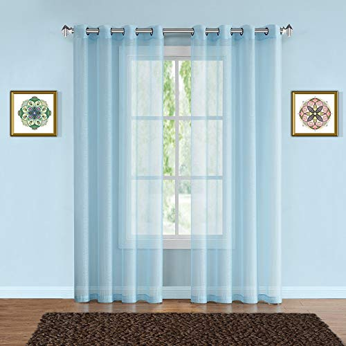 Warm Home Designs Pair of 2 Long Size 54quot Width x 108quot Length Baby Blue Aqua Sheer Window Curtains 2 Premium Elegant Voile Panel Drapes are 108 Inches Wide in Total  K Baby Blue 108quot