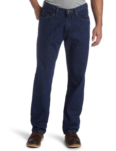 Lee Men's Relaxed Fit Straight Leg Jean, Dark Stone, 34W x 34L (Making A Denim Skirt Out Of Jeans)