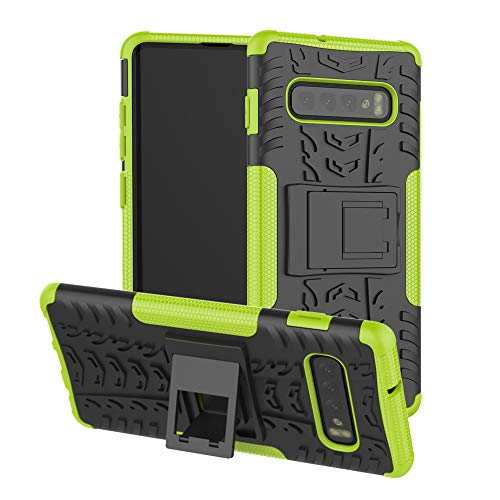 Finedayqi ❤ for Samsung Galaxy S10 Plus 6.4inch Hybrid Rugged Hard Rubber PC Stand Case Cove (Green)