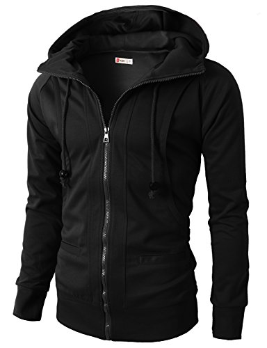 H2H Men's Cotton Blend Zip Front Hoodie Sweatshirts Jacket BLACK US 3XL/Asia 5XL (KMOHOL019) (Cotton Blend Zip Sweatshirt)
