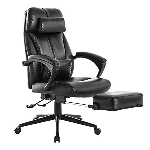 LCH Reclining Office Chair High Back Executive Leather Chair with Adjustable Angle Recline Locking System and Footrest, Padded pillows For Lumbar and Head Support