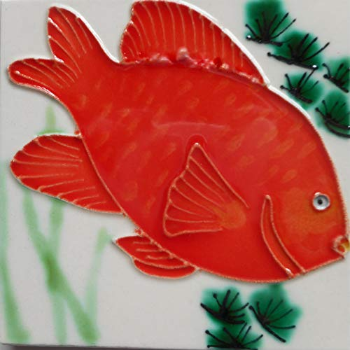 Ceramic Tile Art Fish Coaster 4 x 4 inches with Easel Back