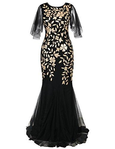 PrettyGuide Women's Evening Dress 1920s Sequin Deco Mermaid Hem Maxi Long Ball Gown Matte Gold L by PrettyGuide