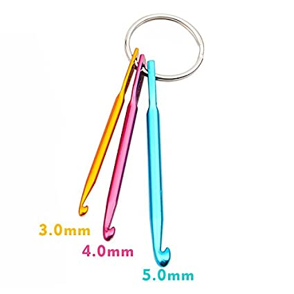 Knitting Needles Set Crochet Hook Keychain With Colorful Plastic