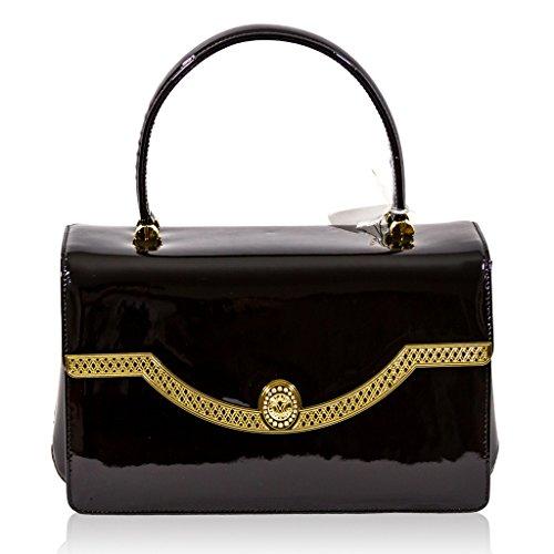 Valentino Orlandi Designer italien noir en cuir verni haut sac à main Handle