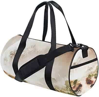 Large Weekender Carry-on Ambesonne Geometric Gym Bag Wild African Animal