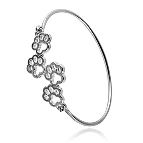 RUXIANG Dog and Cat Four Paw Print Animal Hook Opening Bracelet Jewelry(silver) ()