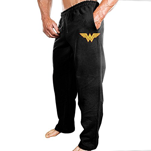 [Dena-J Men's Avengers Wonder Woman Logo Jogging Cool Sweatpants Casual Style L Black] (National Costume Of All Countries)