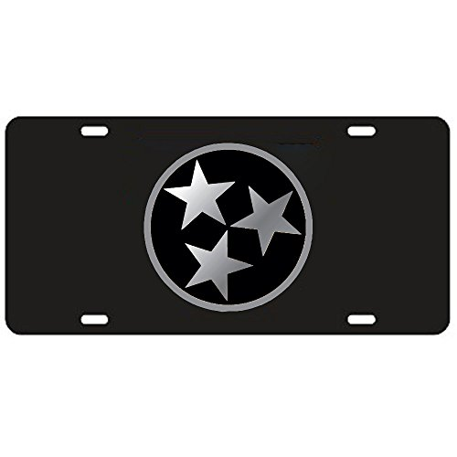 (Craftique Tennessee Volunteers Black Tri-Star Laser Cut License Plate - Mirrored Logo)