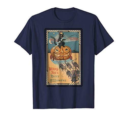 Black Cat Riding Pumpkin with Mice Merry Hallowe'en T-Shirt -