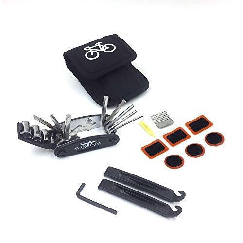 Fahrrad-Multitool, WOTOW 16 in 1 Multifunktionswerkzeug Fahrradwerkzeug Mechaniker Reparatur Tool Kit Fahrrad Reparatur Set Multifunktions Werkzeug mit Reparaturset Flicken und Tasche (es gibt keinen Kleber)