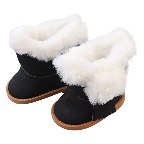 Hstore 18 Inch Winter Plush Doll Snow Boots for American Girls Doll Xmas Gift Toys (Black) from Hstore