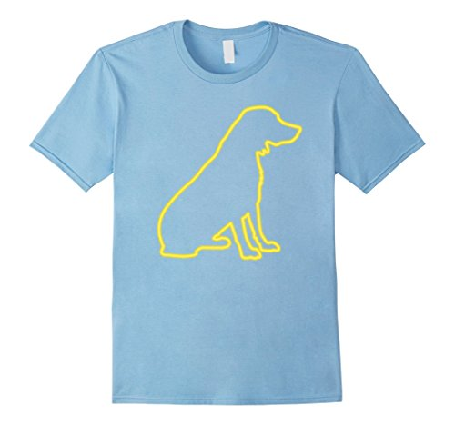 Mens 80s Retro Neon Sign Golden Retriever Dog T-Shirt. 80's Gift Large Baby Blue