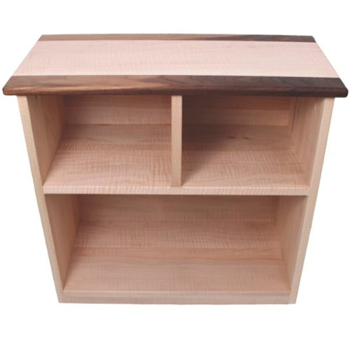 Camden Rose Simple Bookcase, Maple with Walnut Accents, Two Shelves - Mdf Maple Bookcase