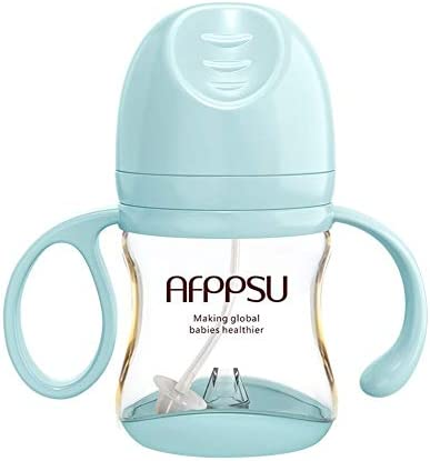 LYL Babyflasche antibakterielle Anti-Blähungen PPSU große Kaliber mit Handgriff und Stroh, 6,3 Unzen UK2 (Color : Blue)
