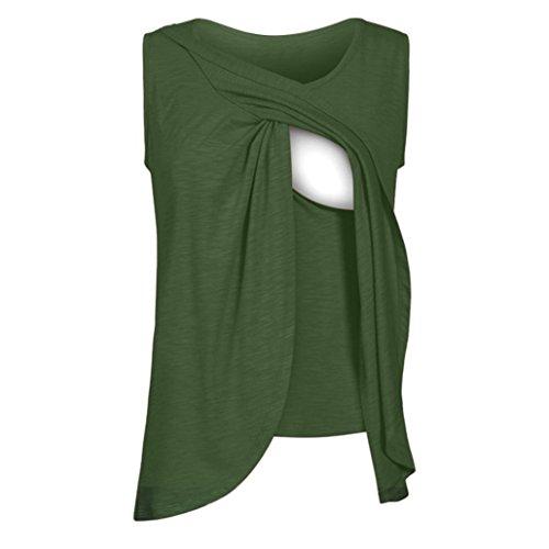 Moonker Women Nursing Tops,Women's Maternity Nursing Wrap Top Cap Sleeveless Double Layer Blouse T Shirt (Green, X-Large)