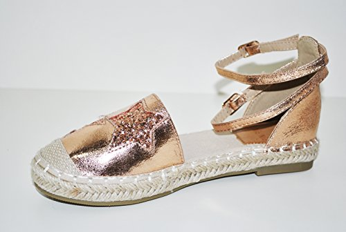 Alla Rosa Champagne Con Espadrillas Shoes Stelle Caviglia Glitterate Decorate Cinturino Fl aqEzw1SS
