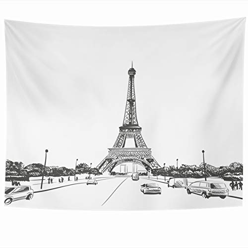 Ahawoso Tapestry 80 x 60 Inches Scape Paris Eiffel Tower Hand Drawn Sketch Street City Journey Travel Design Creative Home Decor Wall Hanging Tapestries for Living Room Bedroom Dorm