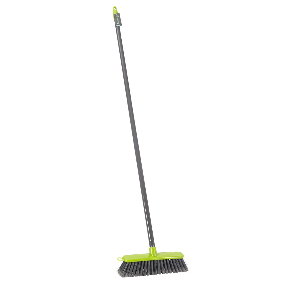 JVL Lightweight Indoor Soft Bristle Sweeping Brush Broom, Polypropylene, Lime 20-044LI