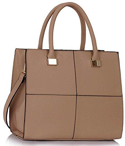 Ladies Designer Handbags Womens Large Fashion Bags Faux Leather Medium Large Extra Large Design 1 : Large - Nude