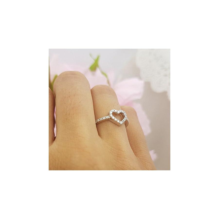 Dazzlingrock Collection 0.18 Carat (ctw) 14K Gold Round Diamond Ladies Bridal Heart Shaped Promise Engagement Ring