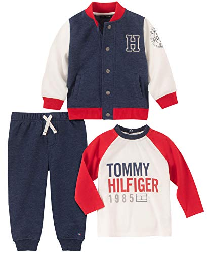 Tommy Hilfiger Baby Boys 3 Pieces Jacket Pants Set, Navy/Vanilla/Red, 6-9 Months (Jacket For Boys Tommy Hilfiger)