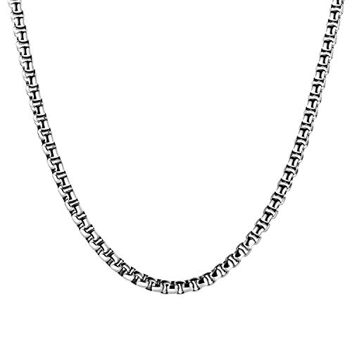 5mm 16 to 38In Stainless Steel Rolo Chain Necklace Crude Chain Necklace for Men Women Jewelry ()