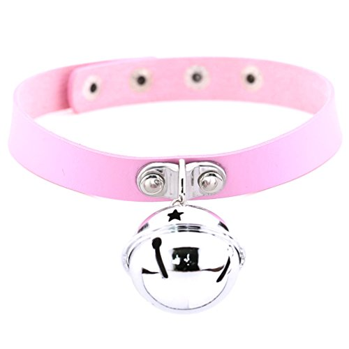 FM FM42 Pink Simulated Leather PU 4cm Large Bell Pendant Neckband Choker Necklace PN1859 ()