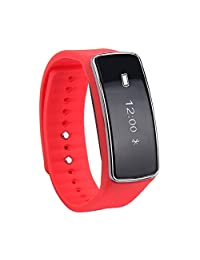Celendi Bluetooth Smart Wrist Band Sleep Sports Fitness Activity Tracker Pedometer Smart Bracelet Smart Watch (Red)